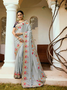 Sober ARD4113 Special Grey Blue Multicoloured Silk Saree - Fashion Nation.in