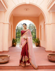 Attractive ARD4114 Finest Maroon Pink Multicoloured Nylon Tissue Silk Saree - Fashion Nation.in