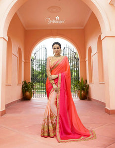 Colourful ARD4115 Latest Shaded Pink Peach Multicoloured Silk Saree - Fashion Nation.in