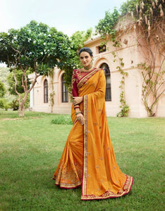 Curated ARD4116 Choicest Maroon Mustard Yellow Multicoloured Silk Cotton Saree - Fashion Nation.in