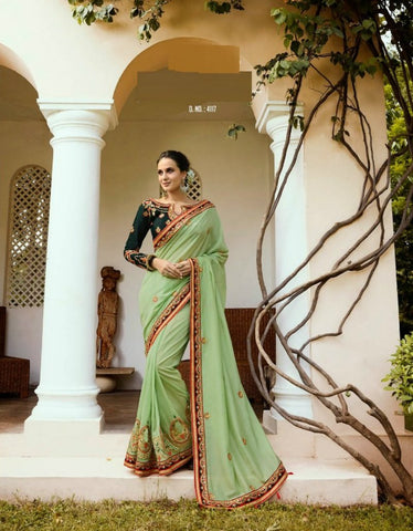 Designer ARD4117 Great Green Multicoloured Silk Saree - Fashion Nation.in