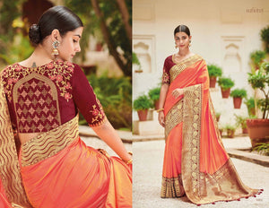 Designer KIM1002 Wedding Special Peach Maroon Banarasi Silk Weaving Saree by Fashion Nation