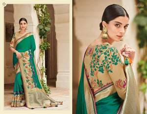 Gorgeous KIM1003 Bridal Green Beige Banarasi Silk Weaving Saree by Fashion Nation