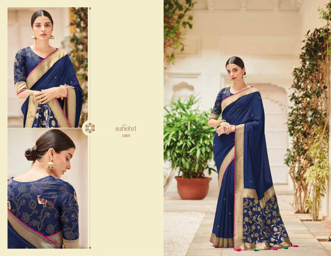 Attractive KIM1005 Partywear Blue Banarasi Silk Weaving Saree - Fashion Nation