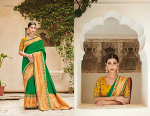 Festive KIM1006 Colourful Green Yellow Banarasi Silk Weaving Saree by Fashion Nation