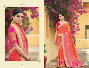 Pretty KIM1007 Special Pink Peach Banarasi Silk Weaving Saree by Fashion Nation