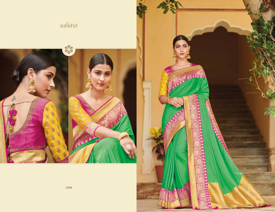 Beautiful KIM1008 Dressy Pink Yellow Green Banarasi Silk Weaving Saree - Fashion Nation