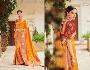 Stylish KIM1010 Bridal Red Yellow Banarasi Silk Weaving Saree by Fashion Nation
