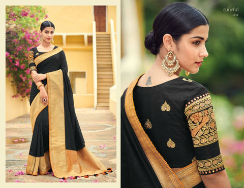 Partywear KIM1011 Fashionable Black Banarasi Silk Weaving Saree by Fashion Nation