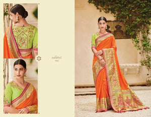 Bright KIM1012 Wedding Wear Orange Green Banarasi Silk Weaving Saree - Fashion Nation