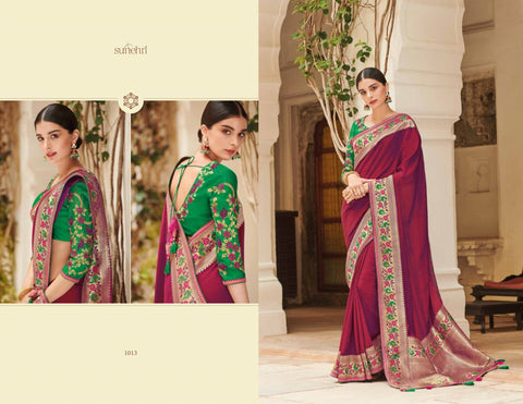 Superb KIM1013 Designer Wear Purple Green Banarasi Silk Weaving Saree by Fashion Nation