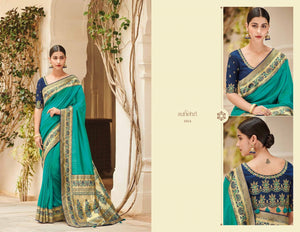 Latest KIM1014 Bridal Blue Banarasi Silk Weaving Saree by Fashion Nation