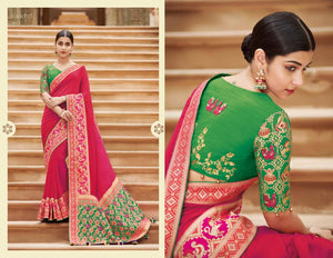 Unique KIM1015 Curated Pink Green Banarasi Silk Weaving Saree by Fashion Nation
