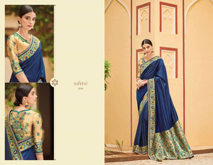 Finest KIM1016 Embroidered Blue Beige Banarasi Silk Weaving Saree by Fashion Nation