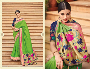 Handcrafted KIM1018 Artistic Green Blue Banarasi Silk Weaving Saree by Fashion Nation