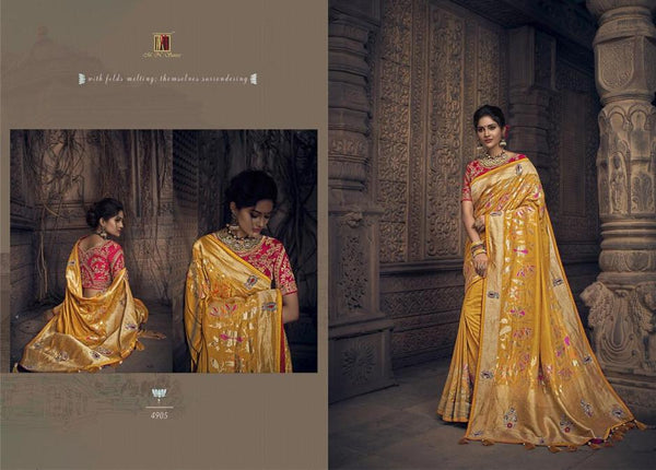 Resplendent MN4905 Wedding Special Yellow Red Silk Saree - Fashion Nation