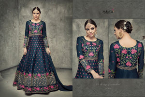 Indo Western S401 Designer Blue Silk Anarkali Gown by Fashion Nation