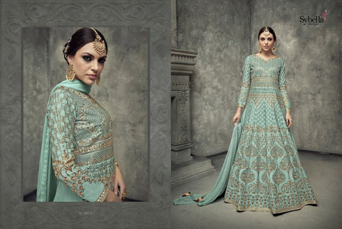 Indo Western S402 Traditional Light Blue Silk Anarkali Gown by Fashion Nation