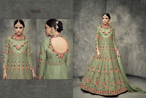Indo Western S403 Beautiful Green Silk Anarkali Gown by Fashion Nation