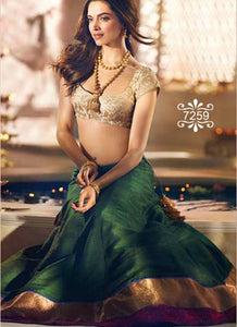 Deepika Padukone VV3786 Bollywood Inspired Cream Green Silk Jacquard Lehenga Choli - Fashion Nation.in