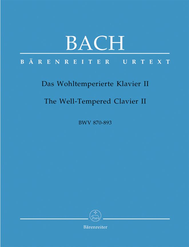 Bach The Well-Tempered Clavier 2  Piano Book Urtext Barenreiter BA 5192