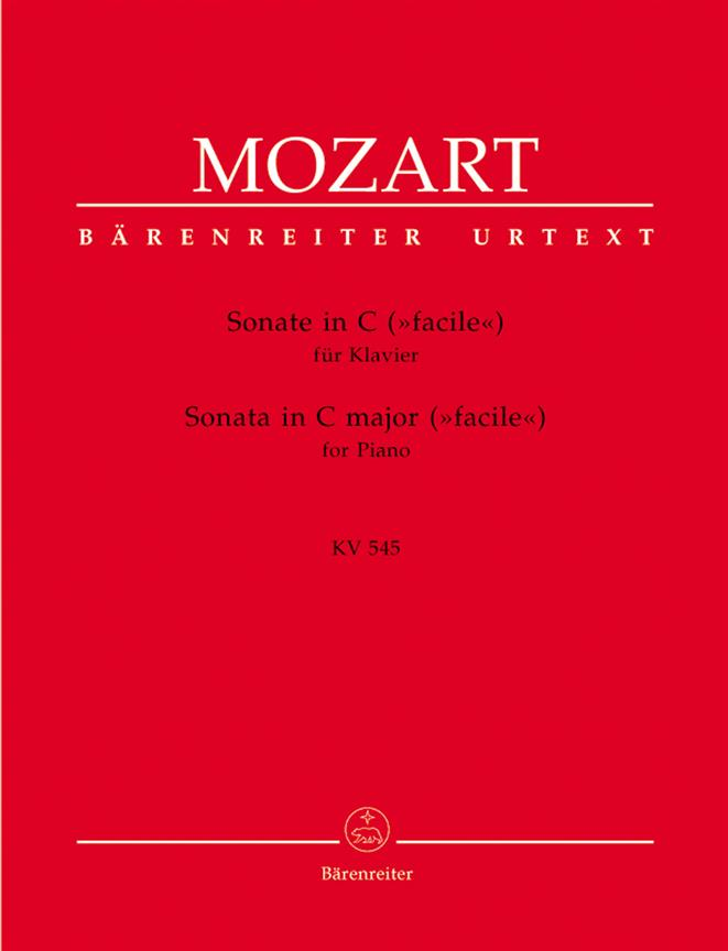 Mozart Sonata in C major for Piano KV545 Barenreiter Urtext BA5763 K545