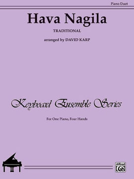 Hava Nagila, Traditional Sheet Music for Piano Duet, arranged by David Karp, 029156169829