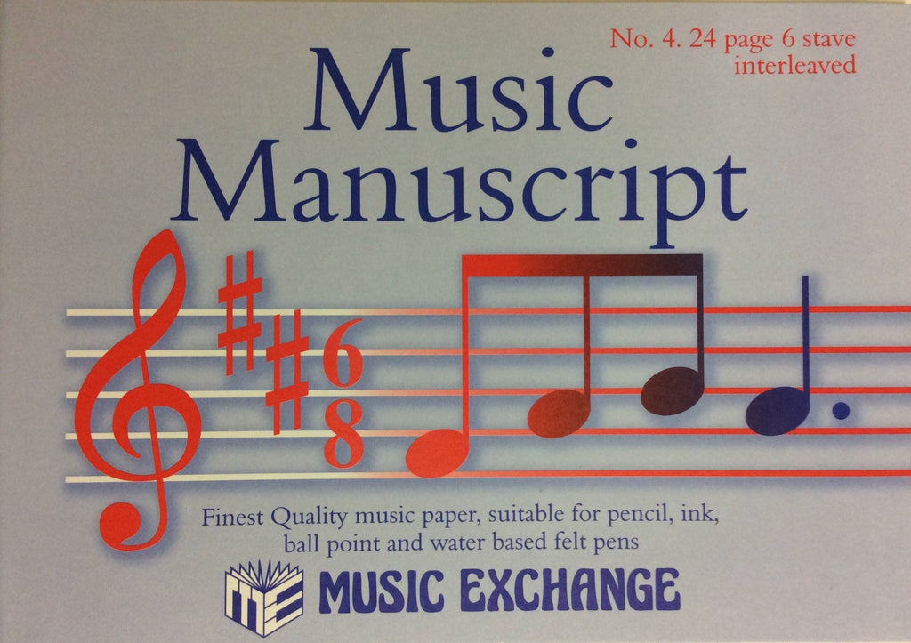 Music Manuscript, Music Exchange, No. 4., 24 page 6 stave book interleaved, 5025966000043, 030741W