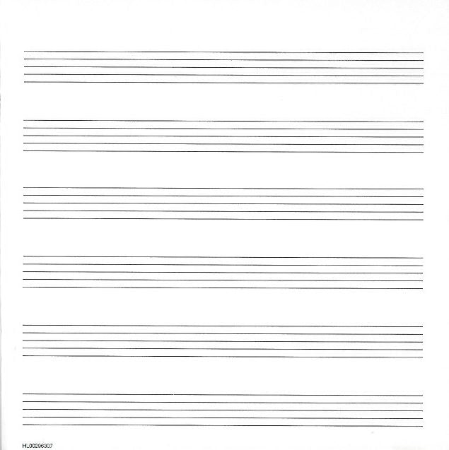 "Music Manuscript Paper Wide Staff 32 page 6 stave book 8 1/2"" x 8 1/2"" (215mm x 215mm) with Music Notation Guide"