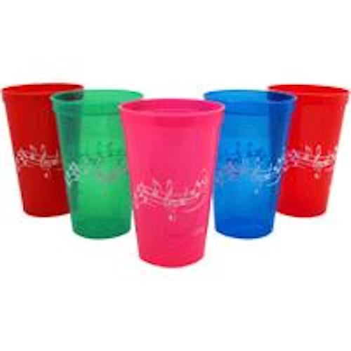 Plastic Cup - Music Design Biodegradable with Stave Treble Clef and Notes