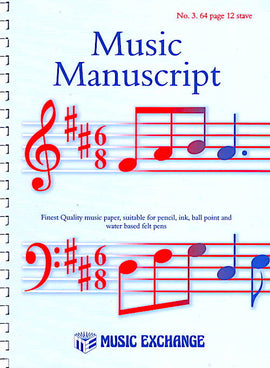 Music Manuscript No. 3. 64 page 12 stave spiral book 5025966000036, 0307402