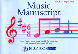 Music Manuscript Music Exchange No. 6. 24 page 4 stave book 5025966000067