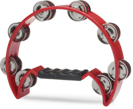 Stagg Half Moon Percussion Cutaway 16 Jingles Hand Tambourine - Red TAB2RD