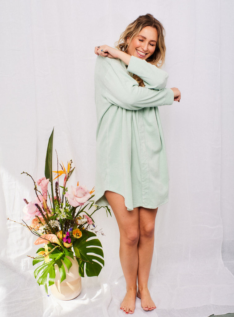 Frottee Robe Dress Matcha