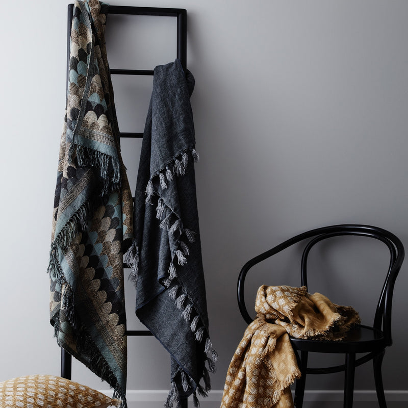 Empire Blue Silk/Wool Throw