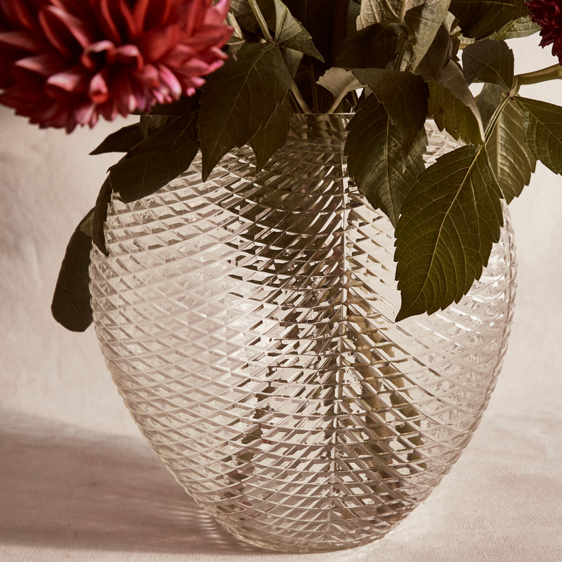 Kaawi Cut Glass Scallop Vase