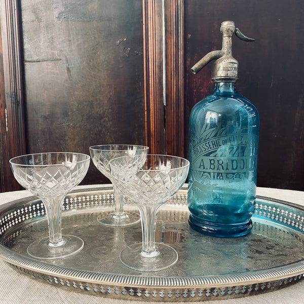 French Glass Blue Soda Siphon - Circa 1930s