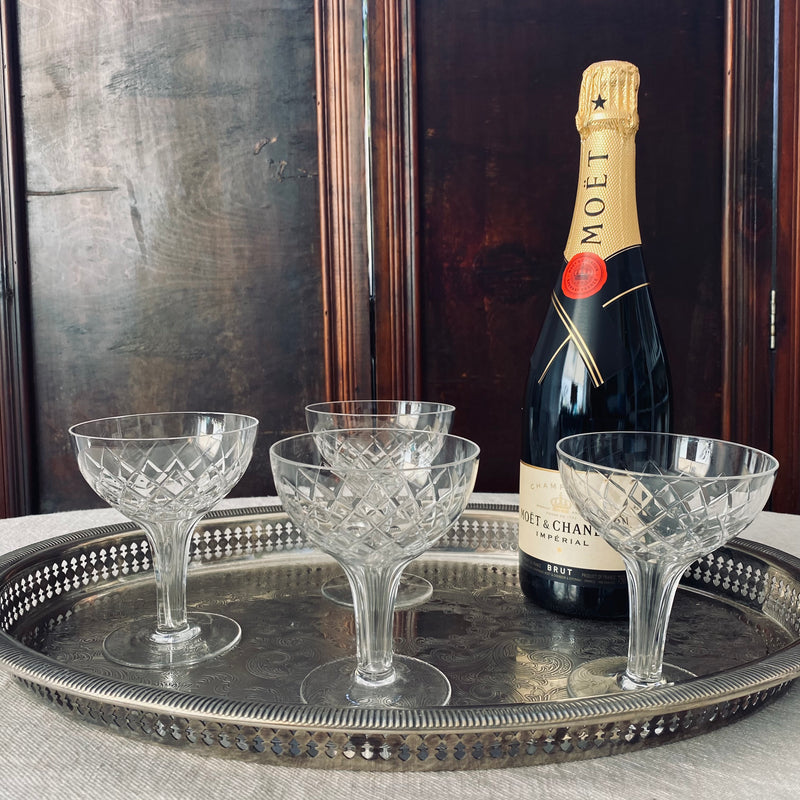 Set of 4x crystal champagne coupes