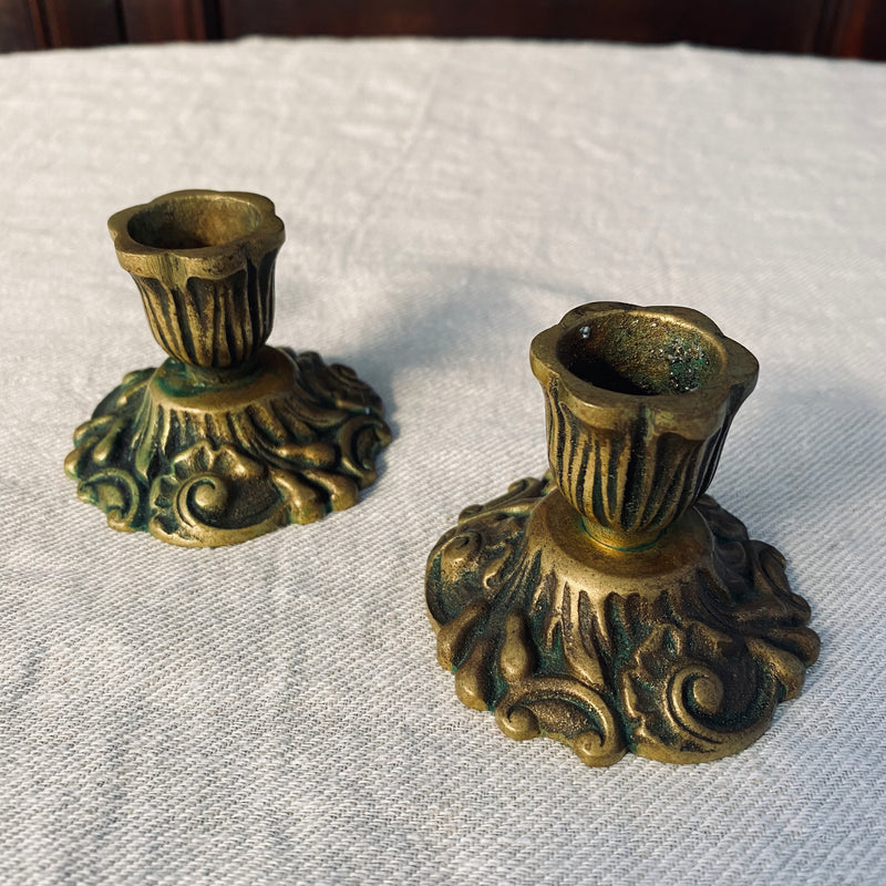 Petite Ornate Candlestick Holders