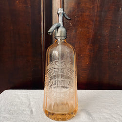 French Peach Glass Soda Siphon. Engraved 1935.