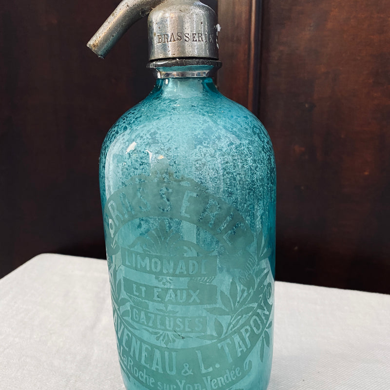 French Glass Turquoise Soda Siphon - Circa 1930s.