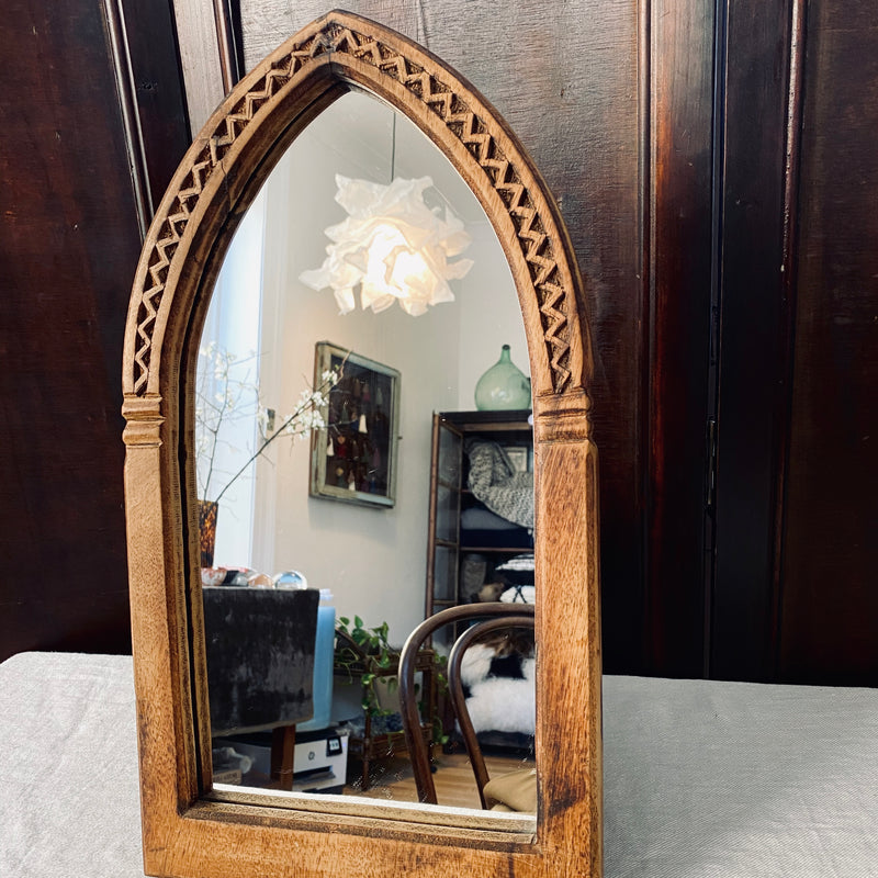 Arched Wooden Cathedral Mirror