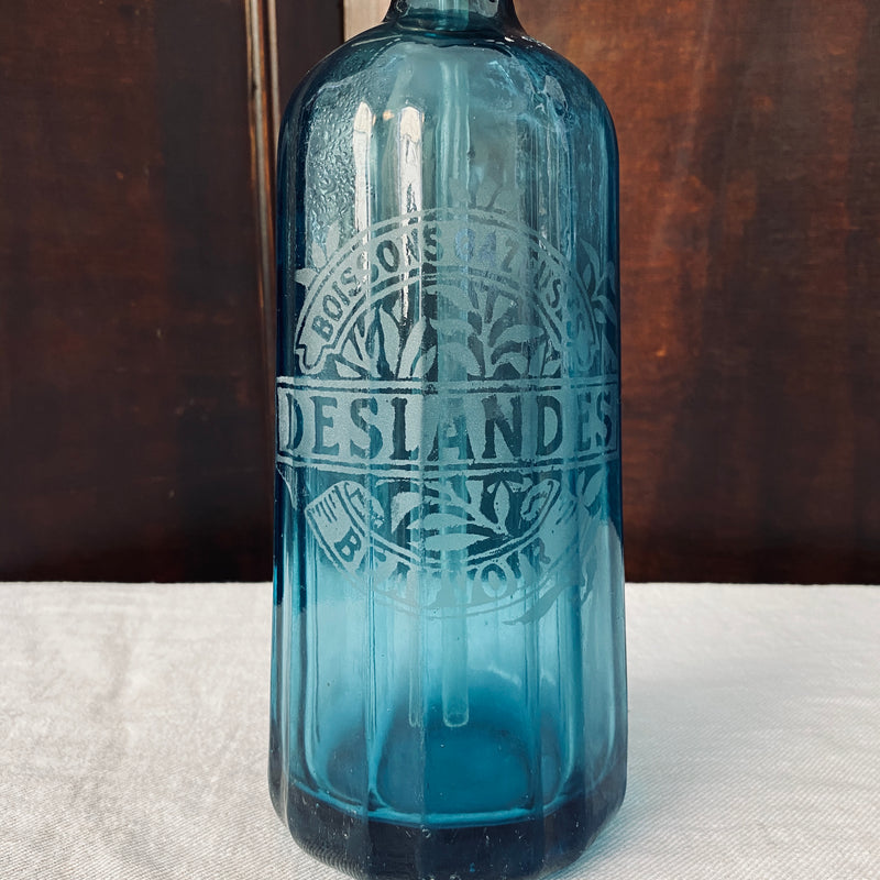 French Blue Glass Soda Siphon - Engraved 1933