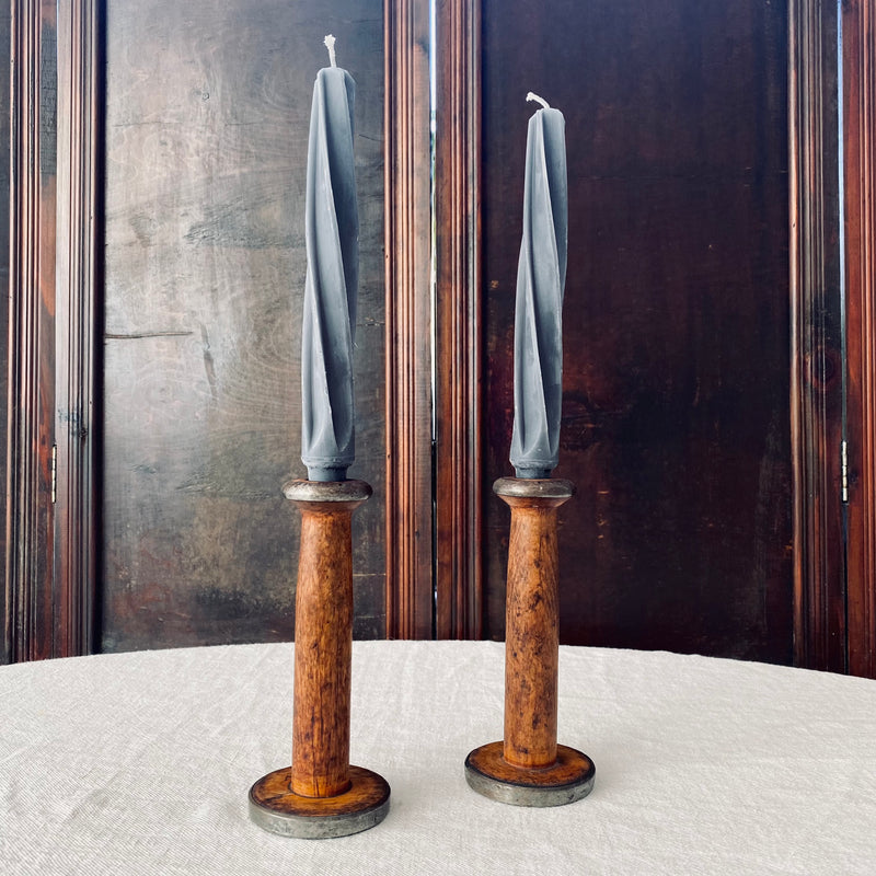 Pair of Wooden Bobbin Candlesticks