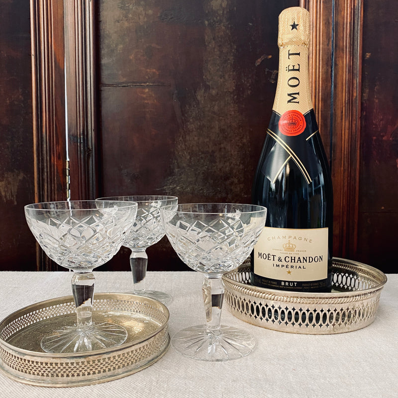 Set of 6x Cut Crystal Champagne Coupes