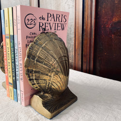 Large Brass Clamshell Bookends