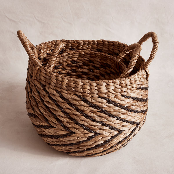 Set of Patterned Water Hyacinth Baskets
