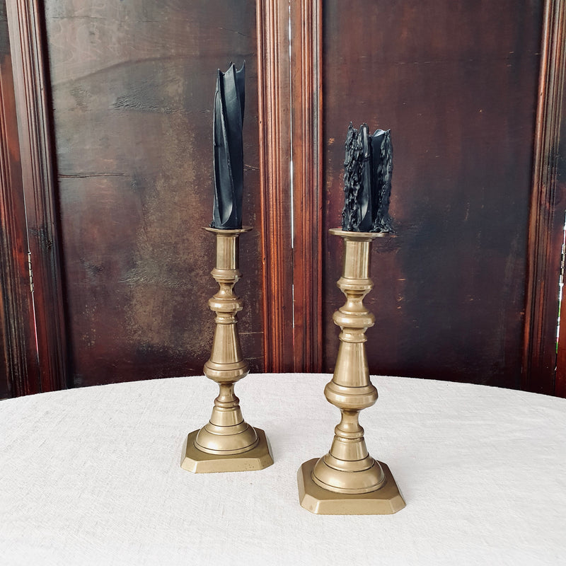 Pair of Antique Brass Candlesticks with Square Base