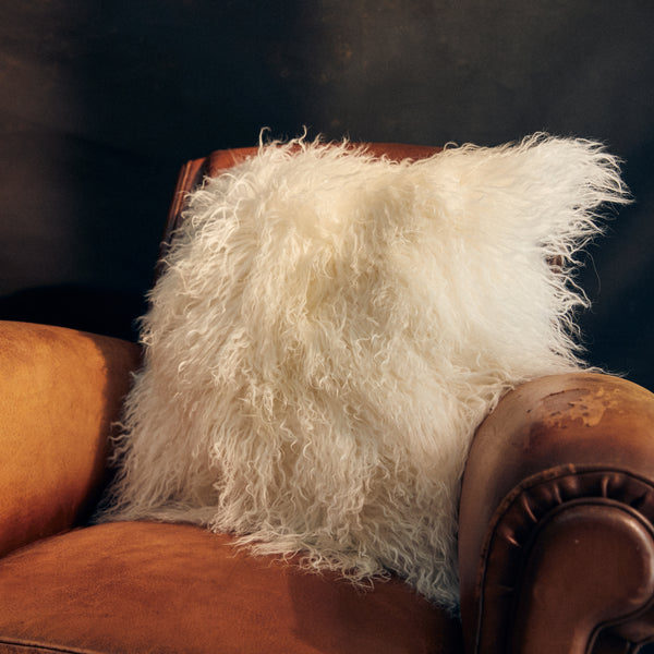 Large Mongolian Sheepskin Cushion - Snow