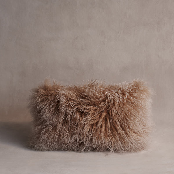 Mongolian Sheepskin Cushion - Nougat